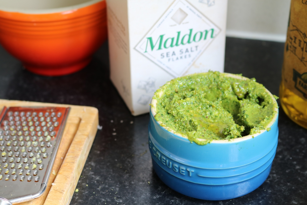 Pistachio pesto, a grown up version of a student staple